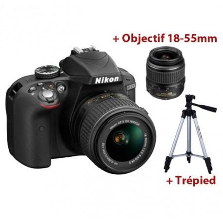 Appareil Photo Nikon D3300 + Objectif 18-55 mm + Trépied