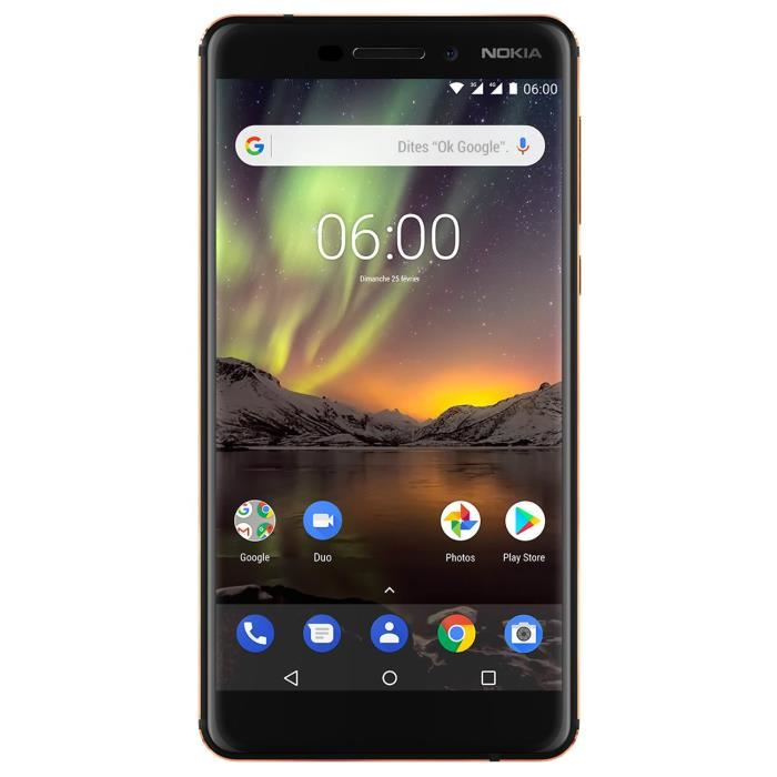 SMARTPHONE NOKIA 6 2018 DSNENA 2 BLACK T-1021 noir